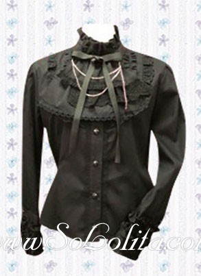 Lolita Bowtie Stand Collar Long Sleeves Cotton Black  Blouse