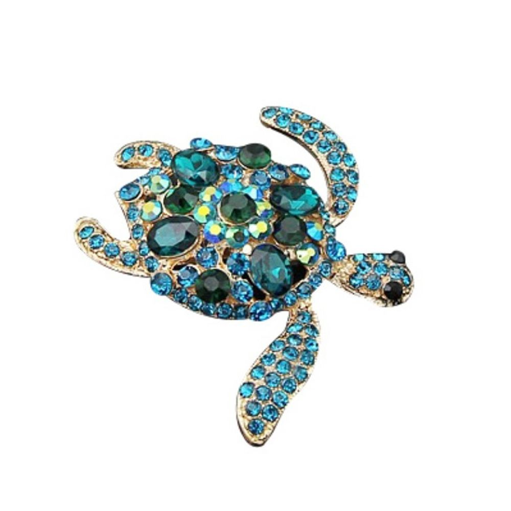 New Women Blue and Green Crystal Animal Tortoise Turtle Brooch Pins Clip Jewelry