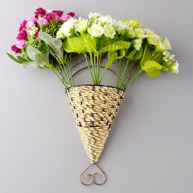 new lovely handmade sector wall hanging basket sticker fake flower