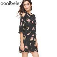 Aonibeier 2018 Summer Floral Print Otwórz Ramię Sukienka Flare Rękawem Mini Suknia O-Neck Kobiety Szyfonu Suknia