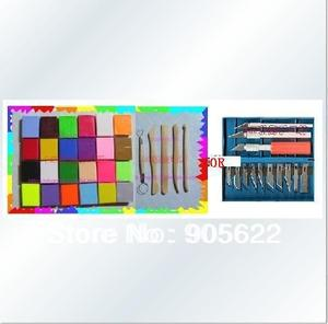 Christmas gifts ,DIY Set,24pcs for 24 color+Free wooden tools or Knife,clay size 4*3*1cm,21g,