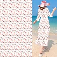 2017 New Cotton Fabric African Flamingos Chiffon Digital Printing Fabric Chiffon Silk Fabric Tissu Patchwork Telas