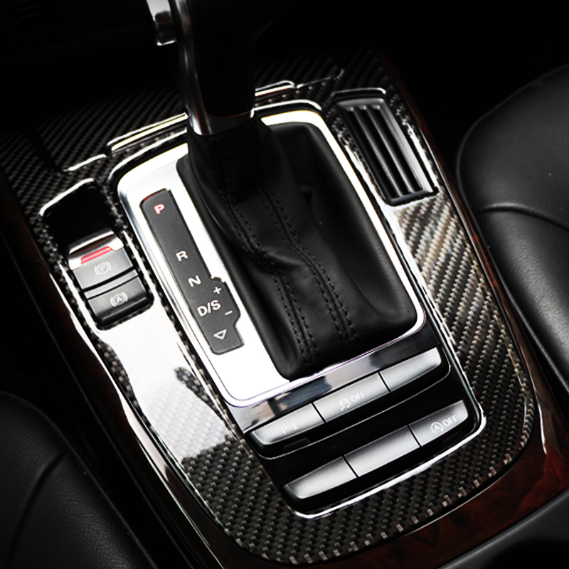 Carbon Fiber Stickers For Audi Q5 A4 B8 Cover Center Console Gear Shift Panel Interior Cover Trim Accessories