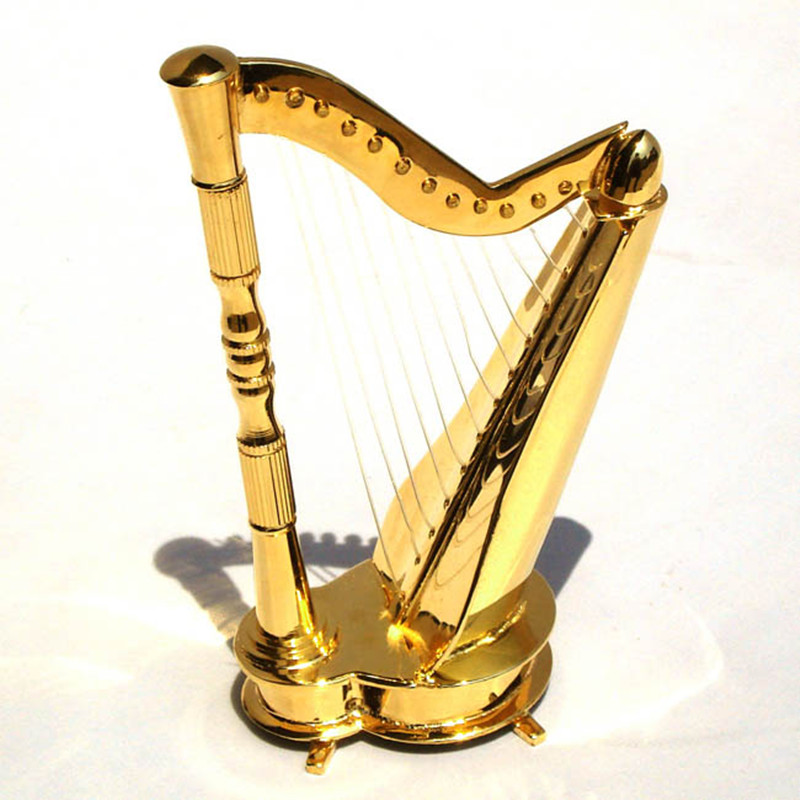 Mini Musical Instrument Model Harp Refinement House And Home Furnishing Decoration Send Creative Gift Collectible Model Toy L593 refinement carousel music box house and