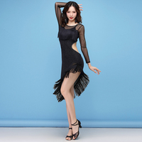 Sexy 2018 Women Dance Clothes Salsa Party Night Club Wear Backless Costume Ballroom Competition Ladies Latin Irregular Dresses