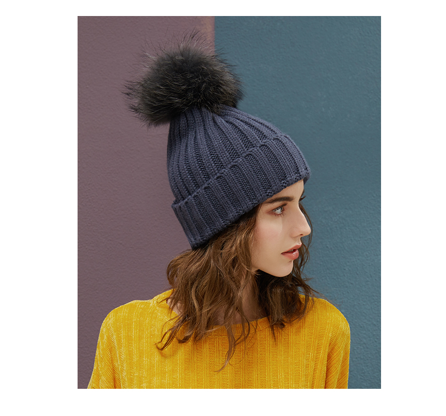 Real Raccoon Fur Pom Poms Beanies Winter Hat Female For Women Knitted Cotton Thick Cap 2018 New Fashion Warm Beanie Hot Selling (16)