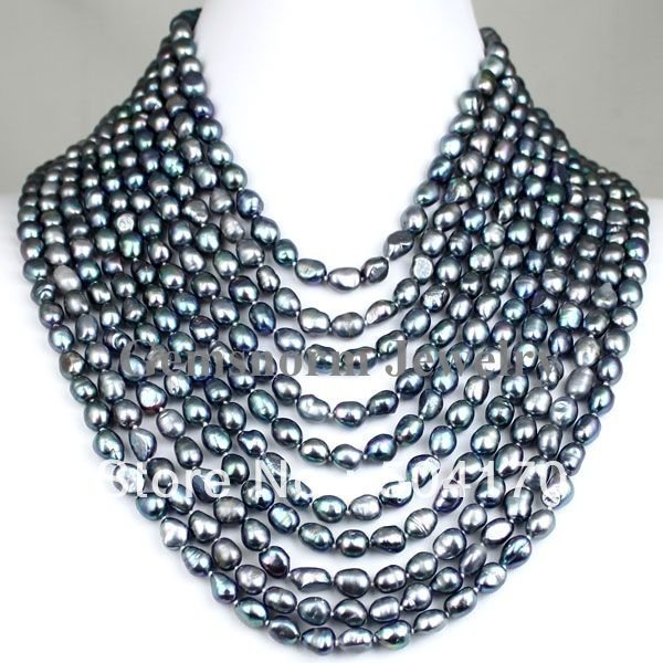 Charms 10 Rows Black Baroque Pearl Necklace Luxury Pearl Party Jewelry Free Shipping FP139