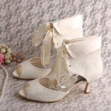Wedopus Летняя Мода Белое Кружево Женские Короткие Узелок Лента Свадебные Сапоги Летом