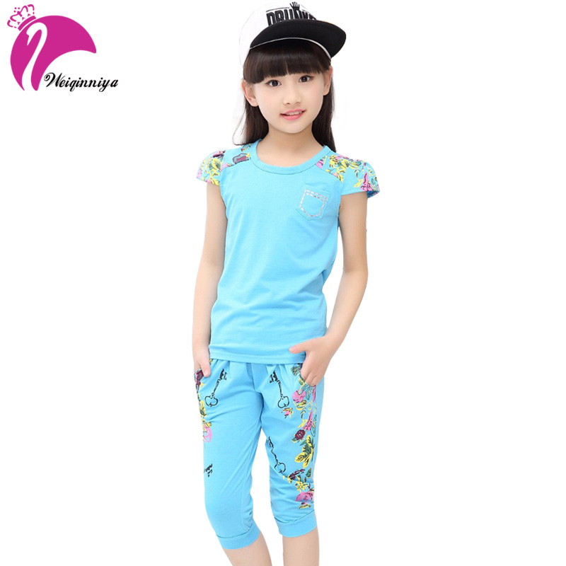 Floral Girls Suit Cotton Print Tops+Pants 2 Pcs Tracksuits For Girls Summer Children Girl Sports Clothing Sets Kids Shorts Suits kids summer clothes sets for girls striped short sleeve t shirts pants casual clothing cotton children suits girl tracksuits