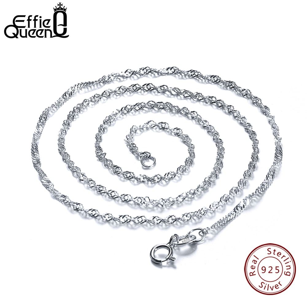 Effie Queen 40cm 45cm 50cm 925 Sterling Silver Lobster Clasp Adjustable Simple Chain Fashion Necklace Jewelry DSC02