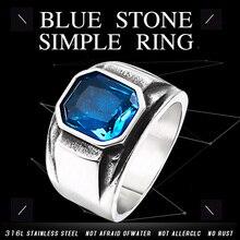 BEIER, винтажное обручальное кольцо с имитацией квадратного зеленого/голубого камня для женщин/мужчин, ювелирные изделия из нержавеющей стали, BR8-586