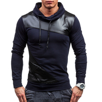 Brand 2017 Hoodie Soild Color PU Leather Hoodies Men Fashion Tracksuit Male Sweatshirt Off White Hoody Mens Purpose Tour