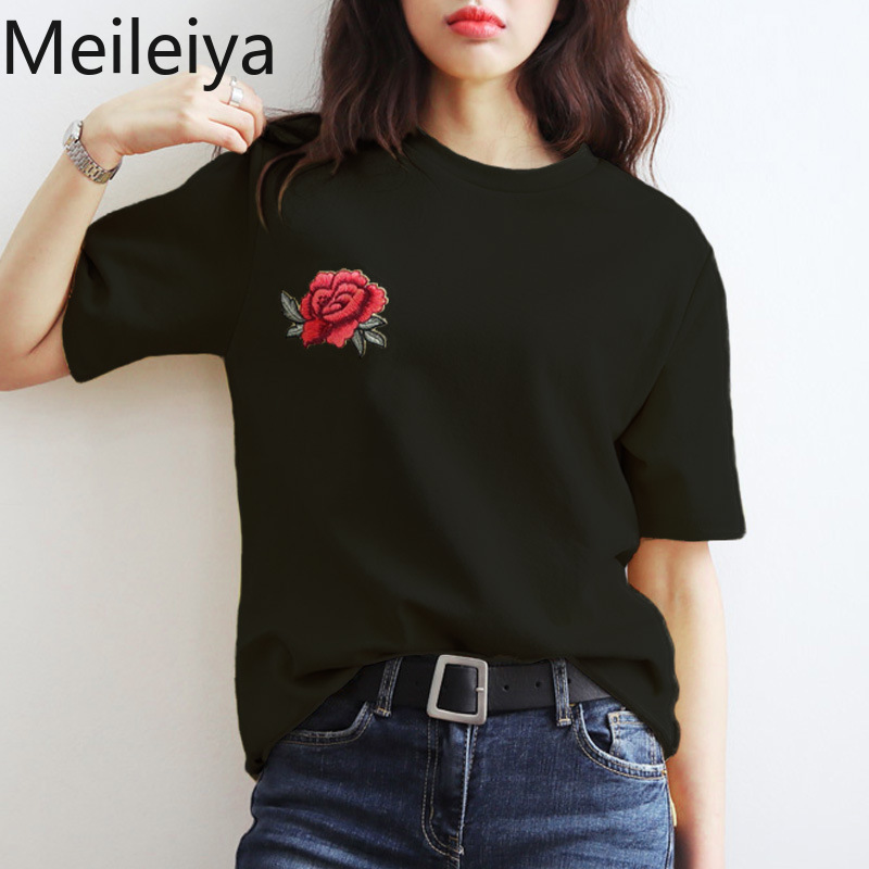 Casual Vogue Rose Embroidered Short t shirt women tshirt loose O-Neck Tops tees