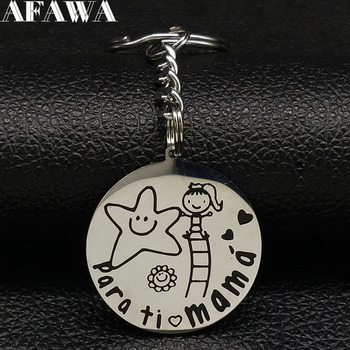 Fahsion Abuela te Quiero Stainless Steel Key Ring Women Girl Grandmother Silver Color Keyring Jewelry keys accesorias K77386B image