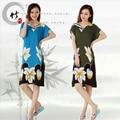 Mulheres Casuais Camisola de Algodão Floral Vestido de Noite Com Decote Em V Camisa Casa de Verão de Manga Curta Vestido de Noite Vestido de Sono Lazer Home Wear