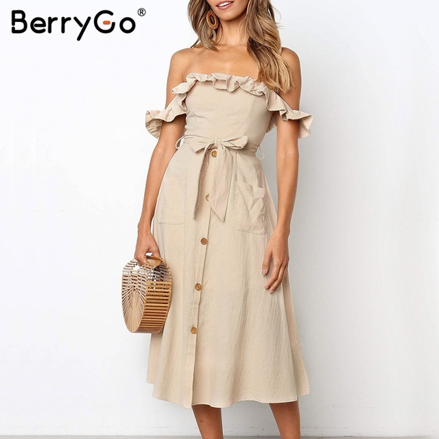 BerryGo Sexy off shoulder ruffled women dress Solid button sashes summer dress Elastic high waist party dress ladies midi dress