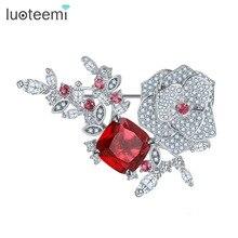LUOTEEMI Noble Estilo Coreano de La Manera Rojo Cristalino de LA CZ Magnética Alfileres Broches Bufanda Para Mujer Regalo de La Madre