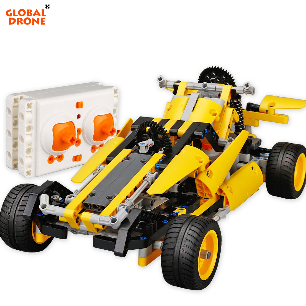 Global Drone Constructor Transformation Machine on the Remote Control 2.4GHz RC Car Blocks Radio-Controlled Cars Educational Toy microgear radio controlled rc grasshopper flying in the air