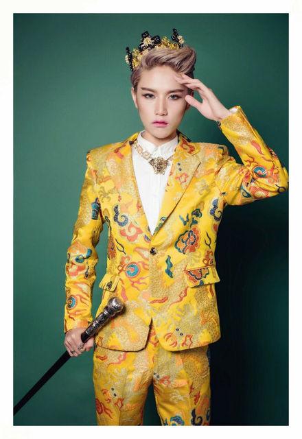 2016 novo estilo Chinês feminino masculino terno traje bodysuit rede tentadora ds seniores vestes dos homens ternos prom singerlong vestido