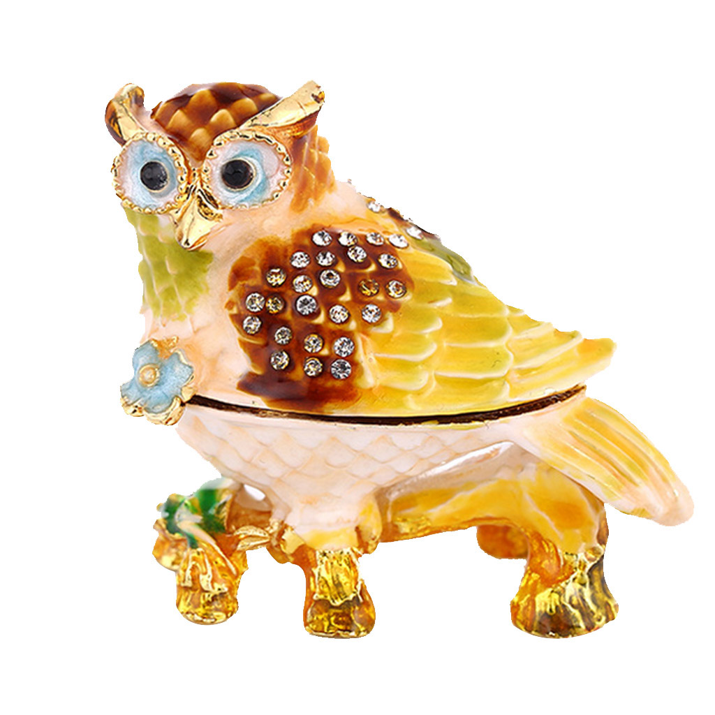 Enameled Crystal Owl Branch Bird Ring Jewelry Holder Storage Box Home Decor Gifts Box Showcase