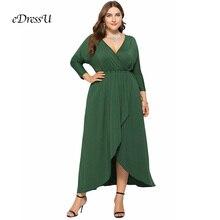 купить Plus Size Maxi Dress High Low V cut Elegant Evening Party Dress Elastic Formal Wear Green Wedding Guest Dress eDressU LMT-FP6036 дешево