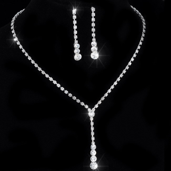 Crystal Tennis Drop Necklace Sets 14″-17″ Bridal Bridesmaid wedding engagement Jewelry sets Rhinestone Necklace Earrings
