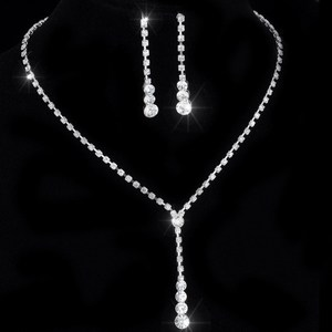Crystal Tennis Drop Necklace S