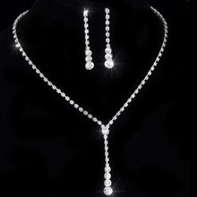 "Crystal Tennis Drop Necklace Sets 14""-17"" Silver Bridal Bridesmaid wedding engagement Jewelry sets Rhinestone Necklace Earrings(China)"