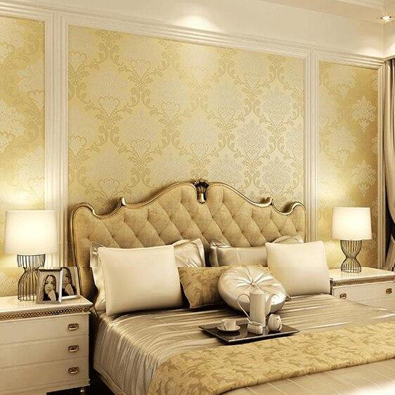 Flocking embossed vintage damask wallpaper for living room bedroom ...