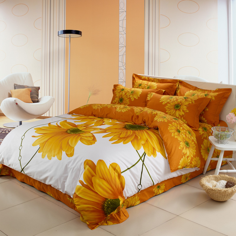 100% Cotton 4pcs White And Yellow Sunflower Print Bed