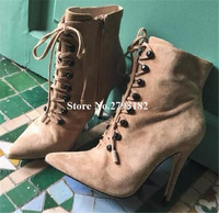 Hot Selling Classical Style Women Pointed Toe Suede Leather Thin Heel Short Boots Lace up Button High Heel Ankle Booties