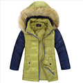 2016 Winter Boys Down Jackets Warm Coats Hooded Patchwork Fur Collar Children Outerwear 130-160 Children Outer Clothing