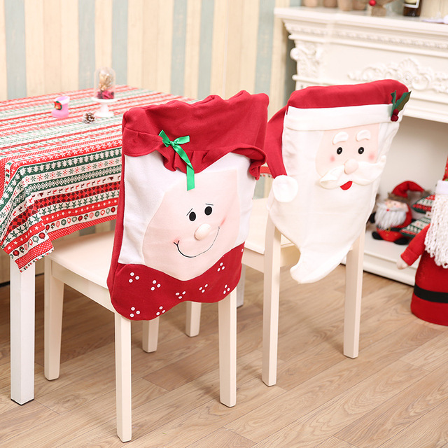 2pcs Lot 2017 New Year Christmas Decorations Hat Dinner Table Chair Back Covers