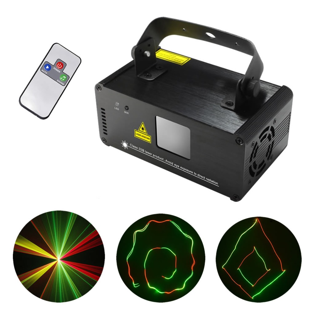 AUCD IR Remote 200mW RGY Laser Stage Lighting 8 CH DMX 512 PRO Scanner DJ Party KTV Show Projector Equipment Light DM-RGY200 kam xy laser rgy