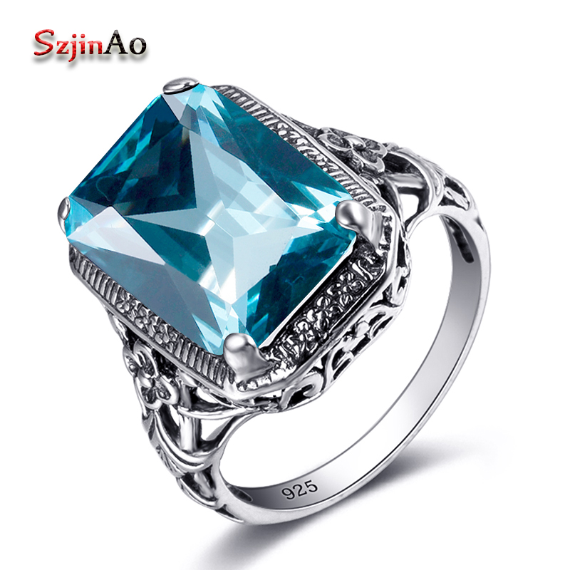 Szjinao Korean Wedding Ring Aquamarine Birthstone Promise Square Design 925 Sterling Silver Jewelry Simple Rings for Girls