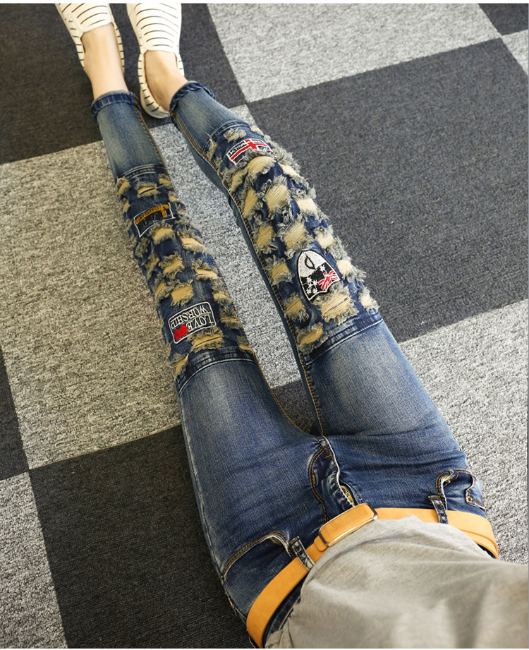 ФОТО Spring and Autumn Women Ripped Holes Denim Pencil Pants Beggars Jeans Female Slim Skinny Trousers Jeans