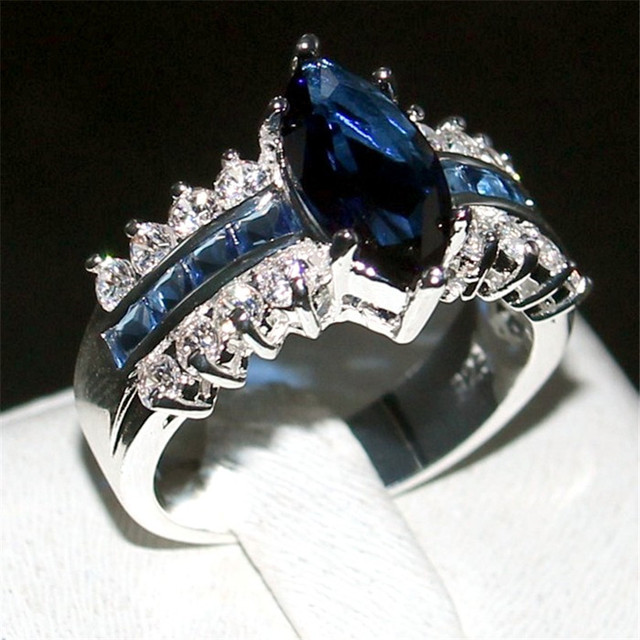 Choucong Jewelry Fashion 925 Sterling Silver Marquise Cut Blue 5a Zircon Stone Rings Wedding Bands Ring