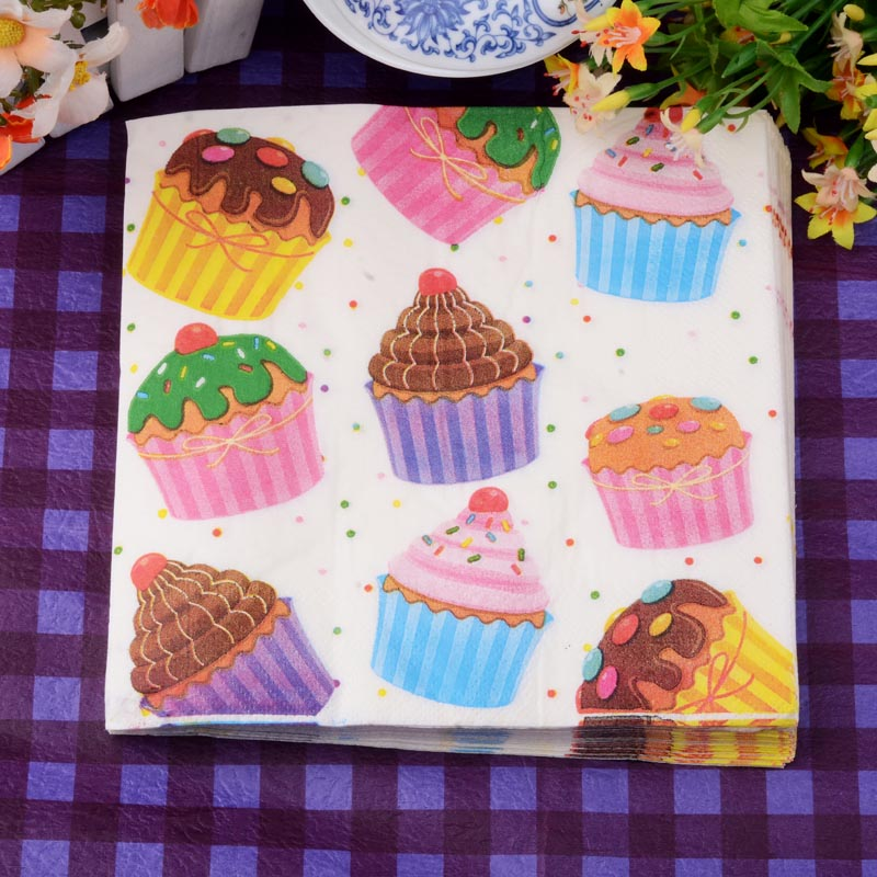 Wedding Paper Napkins Happy Birthday Cake Decoupage Festive & Party Tissue Napkins Paper 33cm*33cm 20pcs/pack/lot
