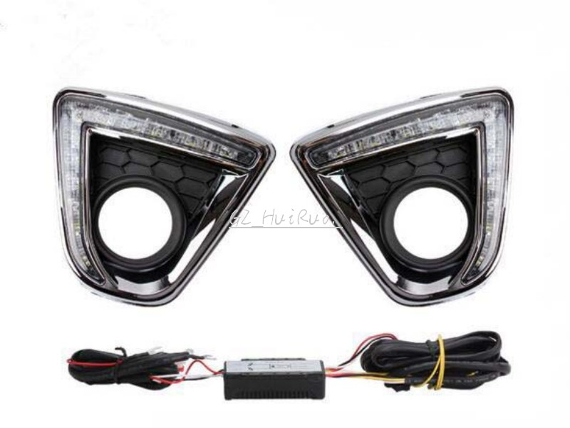 Turn Signal Light style Relay LED CAR DRL Daytime running lights with fog lamp hole for Mazda cx-5 cx5 cx 5 2013 2014 2015 dongzhen car led drl daytime running light for hyundai santa fe 2010 2012 turn signal light with fog lamp hole relay waterproof