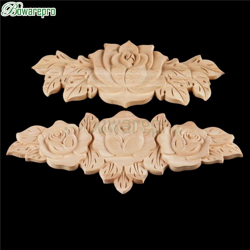 bowarepro Rose Floral Wood carved Decal angle wall Doors furniture decorative Strong wooden figurines Crfts 1pcs 20*8/23*9cm набор кухонный marvel rose wood 8 предметов