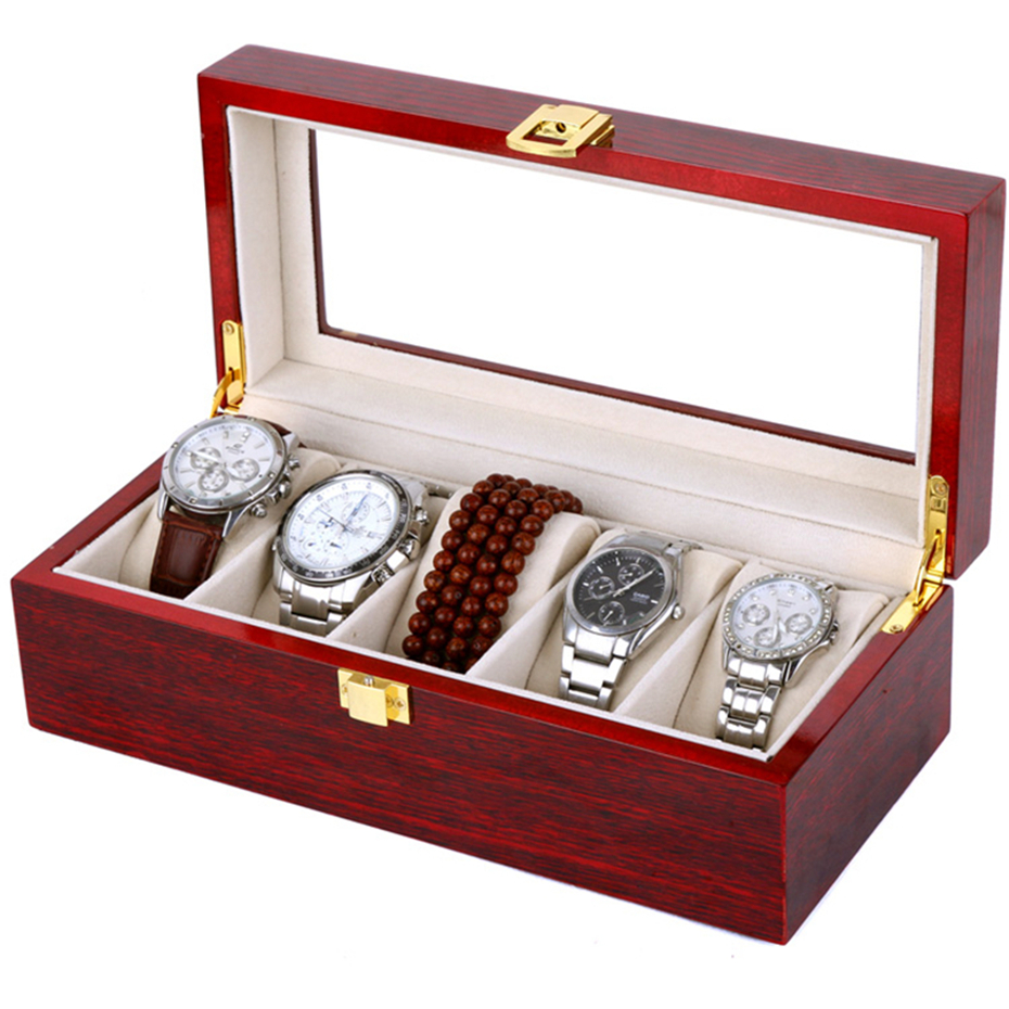 Luxury Watch Boxes 5 Slots MDF Wristwatch Packaging Box Rectangle Storage Boxes for Expensive Watch Display Collection Red giftLuxury Watch Boxes 5 Slots MDF Wristwatch Packaging Box Rectangle Storage Boxes for Expensive Watch Display Collection Red gift