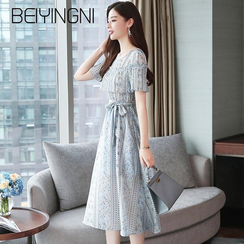 Beiyingni Patchwork Dress Women Short Sleeve Sashes Chiffon Print Vintage O-neck Lining Vintage Boho Dresses Elegant Shift Dress