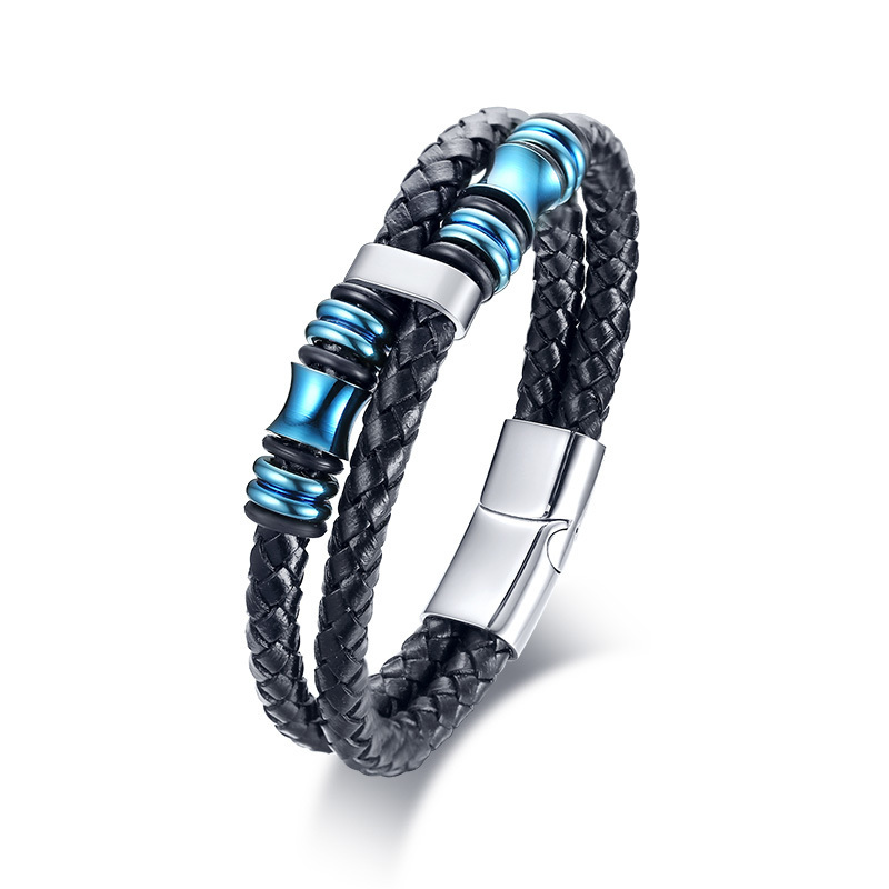 Double Layer Woven Black Leather Bracelet with Stainless Steel Beads Braslet Stylish and Uniquely Brackelts Male Jewelry