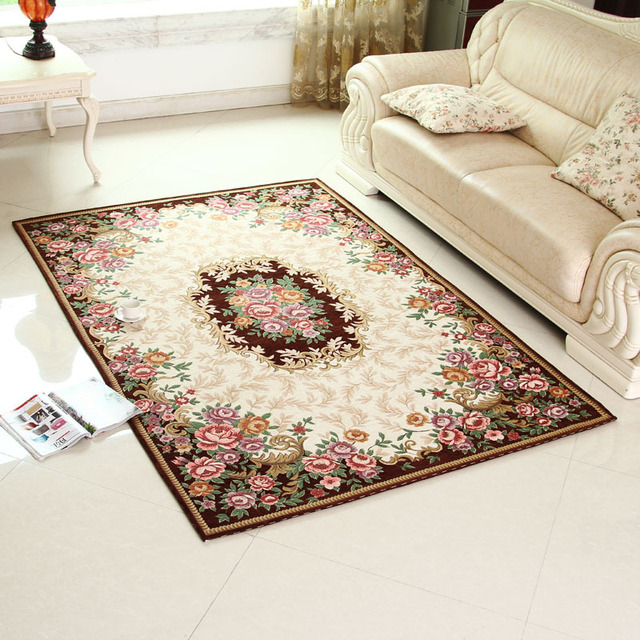 1pcs Keyama Europe Rectangle Jacquard Acrylic Parlor Fl Living Room Decorative Area Rugs Clical Bedroom Floor