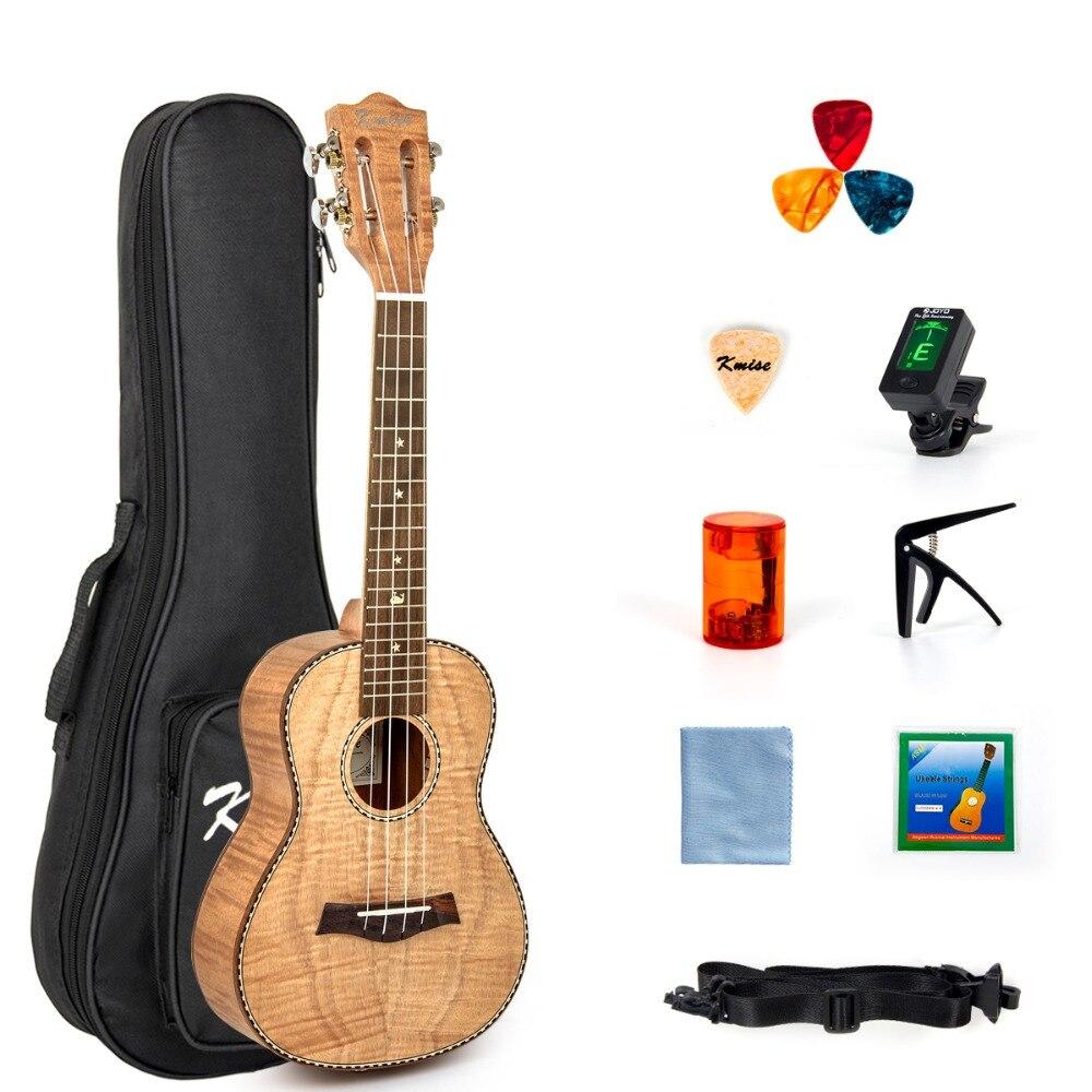 Kmise Concert Ukulélé Ukulélé Tigre Flamme Okoumé Starter Kit 23 pouce Classique Guitare Tête avec Concert Sac Tuner Sangle Chaîne
