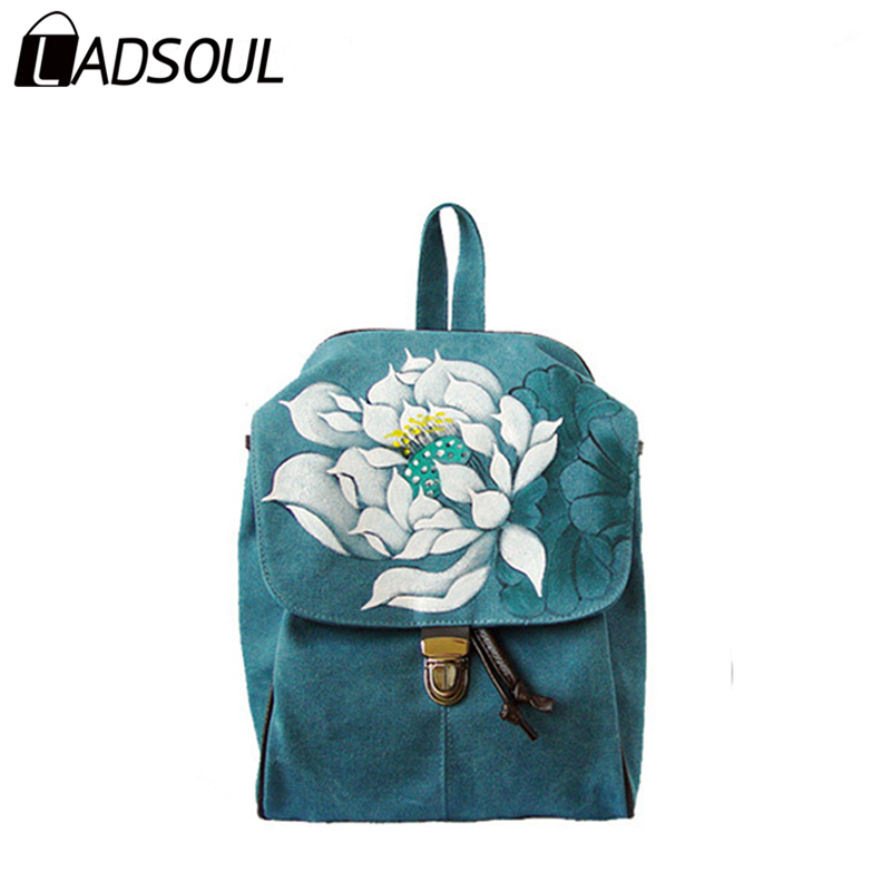 Ladsoul Fashion Women Canvas Backpack Chinese Style Lady Versatile Landscape Painting Concise String School Girls Bags A3574/h