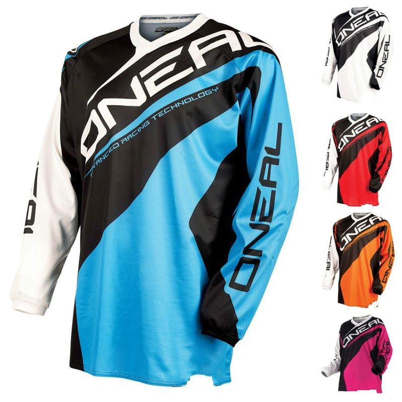 Prix pour Moto vêtements ONEAL MX Hors route Moto vélo Vitesse Sec T-shirt Veste D'équitation Mâle D'été À Manches Longues DH Vitesse remise