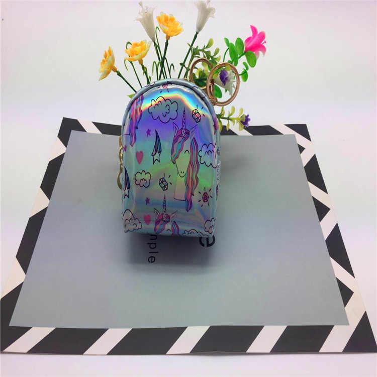 Nuovo 2018 unicorno di soia luna raccoglitore della moneta per bambini paillettes di colore fantasia raccoglitore zero piccolo satchel laser mini raccoglitore zero auricolare borsa