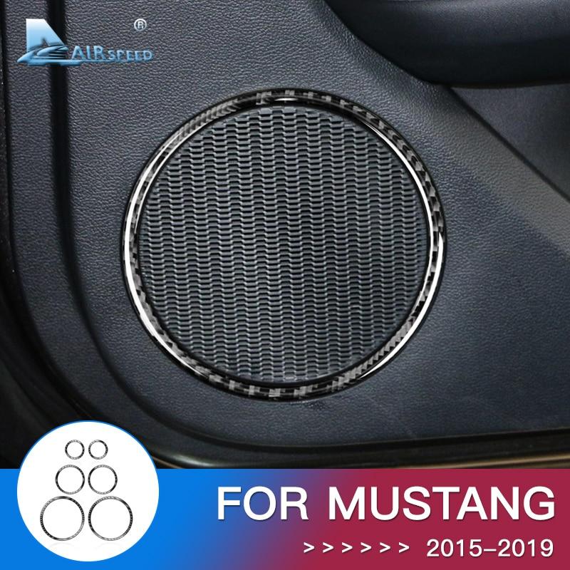Airspeed pour Ford Mustang accessoires 2015 2016 2017 2018 pour Ford Mustang autocollant Fiber de carbone garniture intérieure voiture haut-parleur cadre