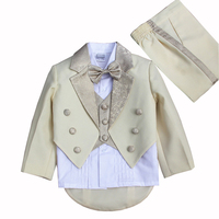 The Boy Costume Male Flower Dress Suit set Summer Tuxedo Clothes Children Piano Performance Champagne size 2 8Years